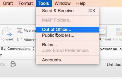 Office 2016 for Mac - Tools, Out of Office