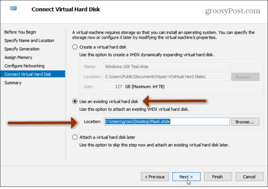 Use existing virtual hard disk