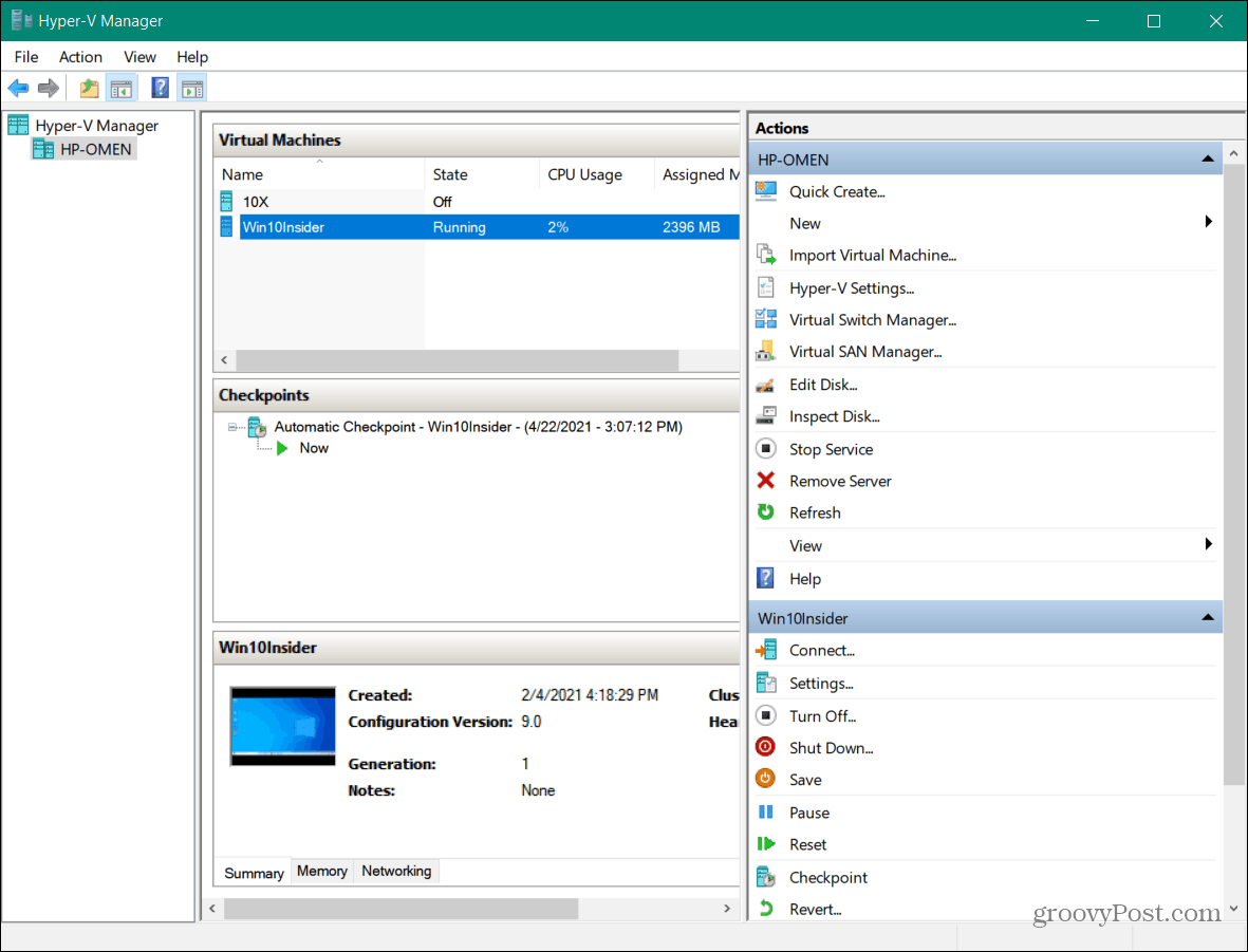hyper-v manager launched on windows 10